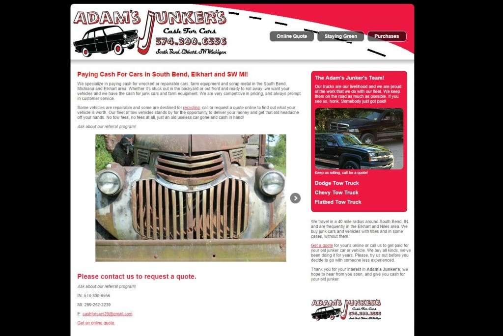 adams junkers website design